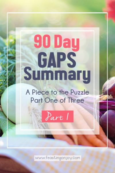 90 Day GAPS Summary {A Piece to the Puzzle Part One of Three} | Feasting On Joy