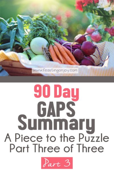 90 Day GAPS Summary { A Piece to the Puzzle Part Three of Three} | Feasting On Joy