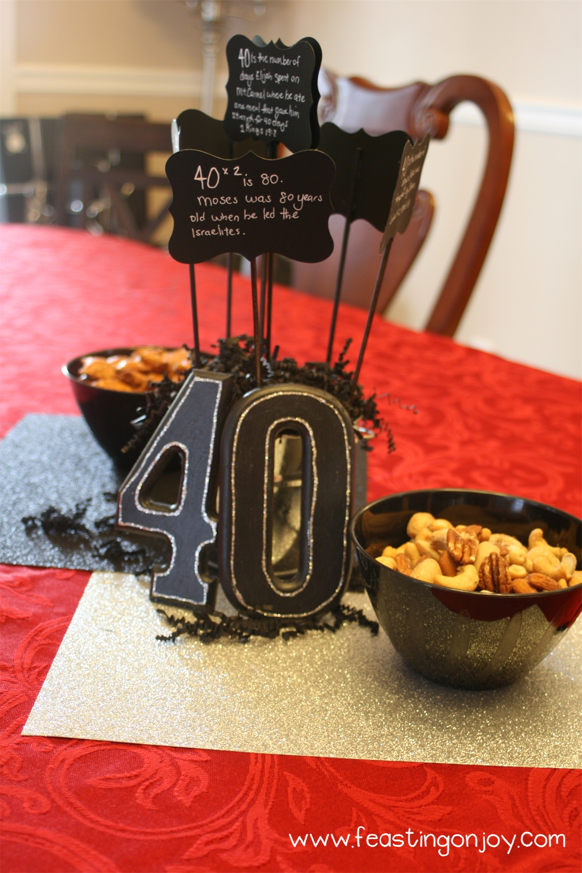 A Manly 40th Birthday Party Free Feasting On Joy Table Decorations Centerpieces