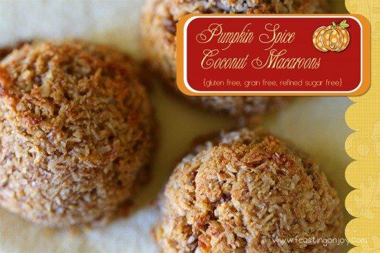 Gluten Free Grain Free Refined Sugar Free Pumpkin Spice Macaroons
