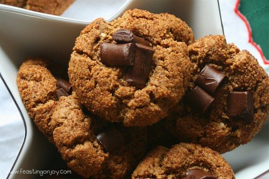 bowl of 'Peanut' Butter Chocolate Blossom Cookies