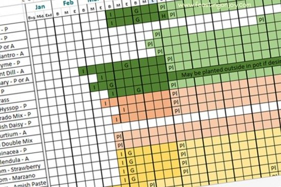 Filled in Planting Chart for Garden