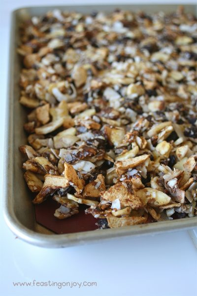 Close up of Pan of AIP Baked Apple Cinnamon Granola