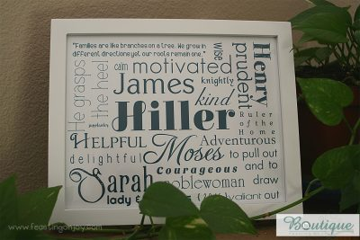 Monochromatic Personalized Family Print