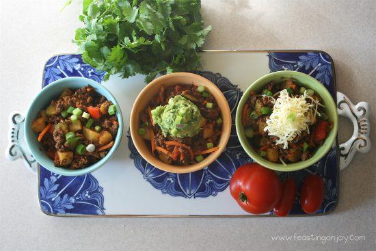 Whole Food, Corn Free Taco Bowls 3 Ways 2 | Feasting On Joy