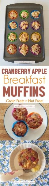 Grain Free, Nut Free Cranberry Apple Breakfast Muffins LP | Feasting On Joy