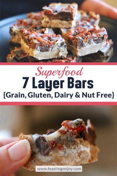 Superfood 7 Layer Bars {Grain, Gluten, Dairy & Nut Free} | Feasting On Joy